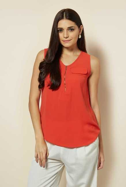 109 F Orange Sleeveless Top