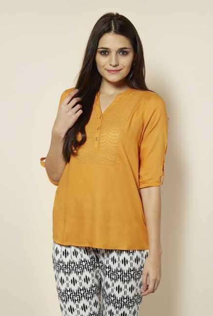 109 F Papaya Embroidered Yoke Top