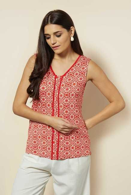 109 F Red Printed Jersey Top
