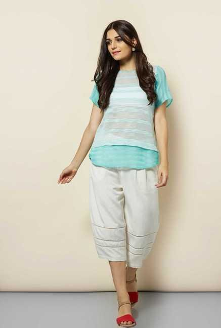 109 F Aqua Striped Top
