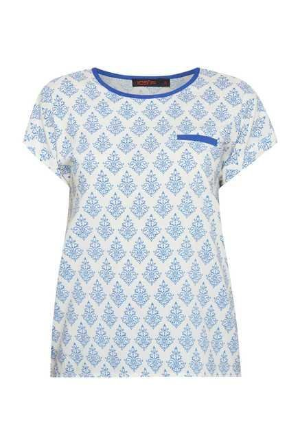 109 F Blue Printed Kate Tunic