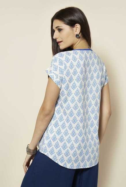 109 F Blue Printed Top