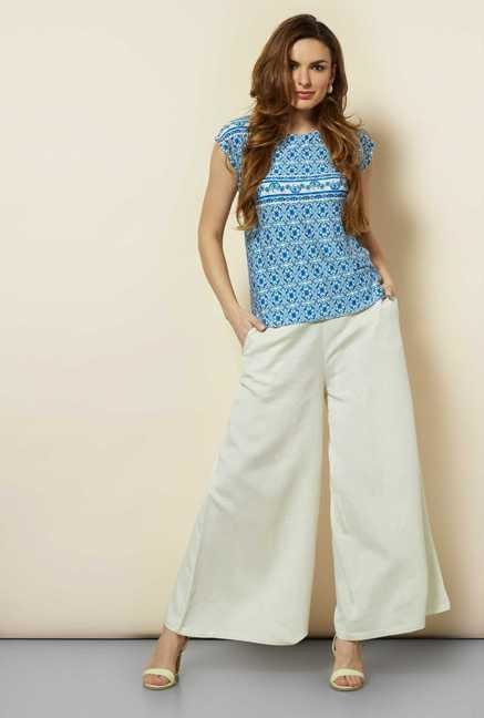 109 F Blue Printed Kimm Top