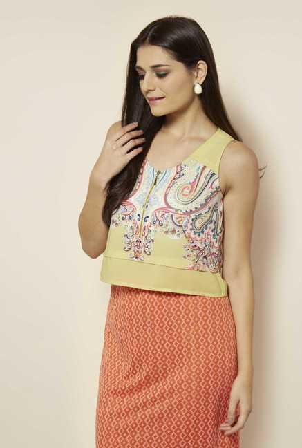 109 F Yellow Printed Crop Top