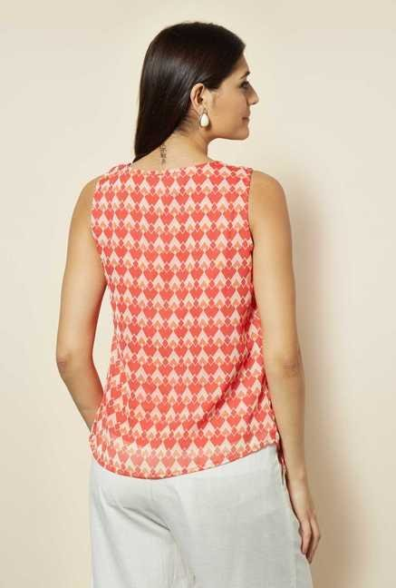 109 F Red Crepe Overlay Top