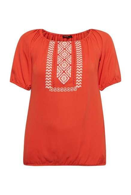 109 F Orange Embroidered Top
