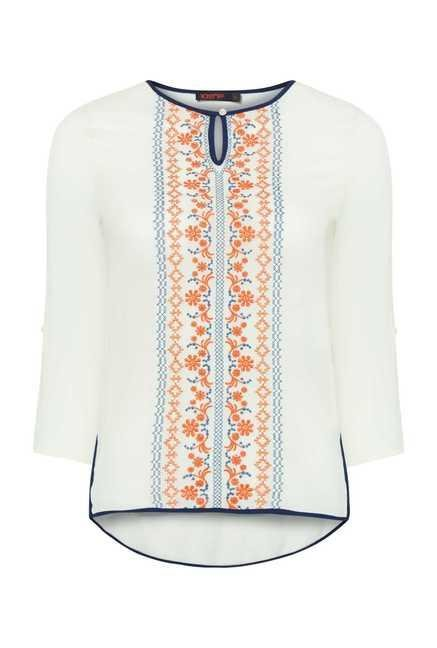 109 F White Embroidered Tunic