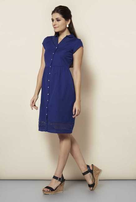 109 F Navy Solid Casual Dress