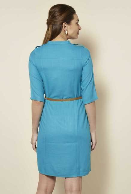 109 F Turquoise Solid Casual Dress