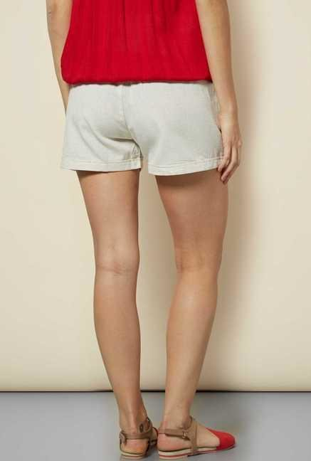 109 F Beige Cotton Solid Shorts