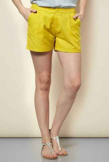 109 F Lime Cotton Solid Shorts