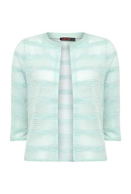 109 F Aqua Striped Crotchet Shrug