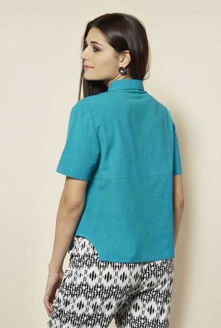109 F Turquoise Solid Casual Shirt