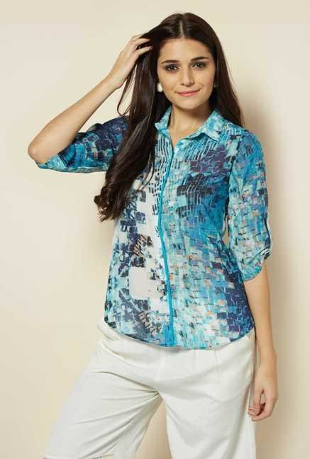 109 F Turquoise Print Casual Shirt