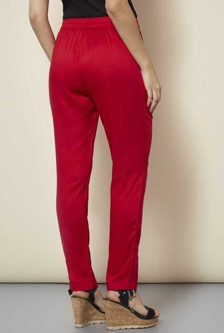109 F Red Drawstring Trouser