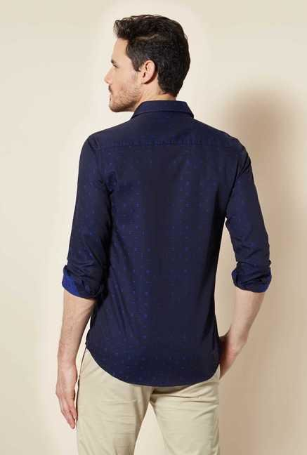 Easies Navy Printed Cotton Shirt