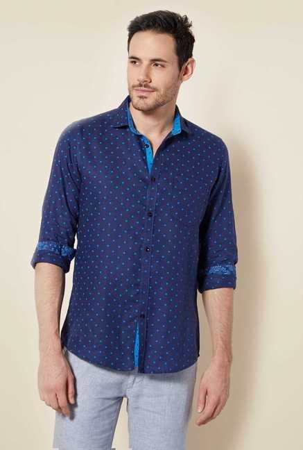 Easies Navy Dot Print Shirt
