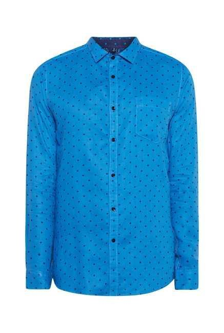 Easies Blue Dot Print Shirt