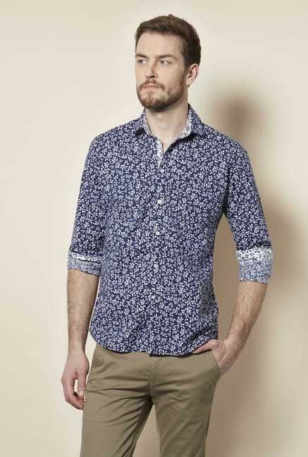 Easies Navy White Leaf Print Shirt