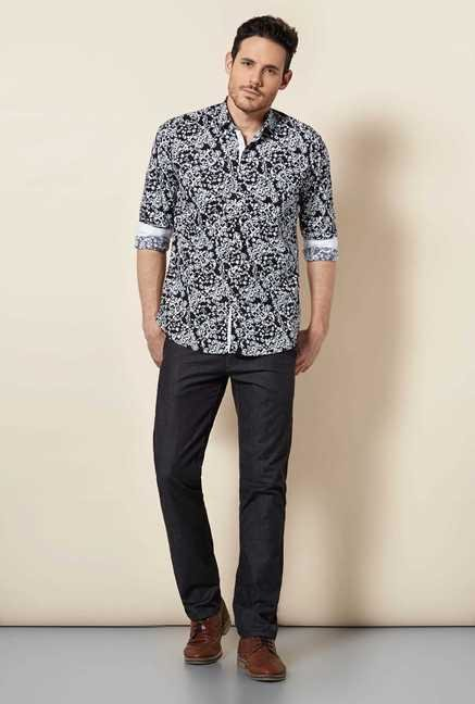 Easies Black Floral Print Shirt