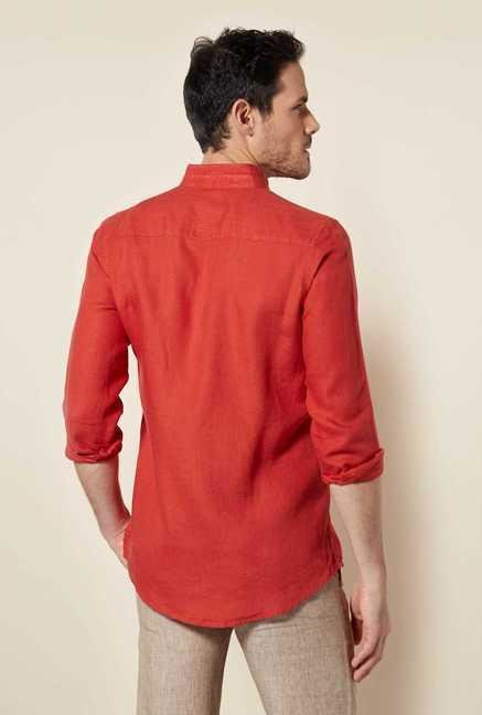 Easies Rust Red Cotton Shirt