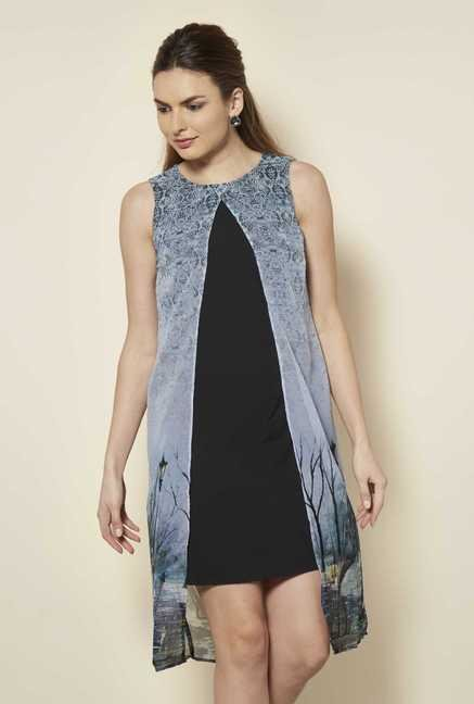 109 F Grey Print Casual Dress