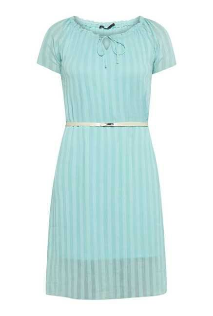 109 F Aqua Stripes Casual Dress