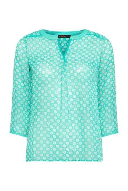 109 F Turquoise Rose Printed Tunic