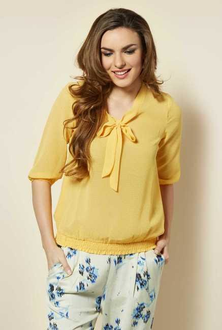 109 F Yellow Solid Blouse