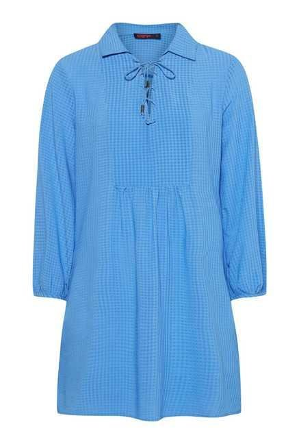 109 F Blue Checks Tunic