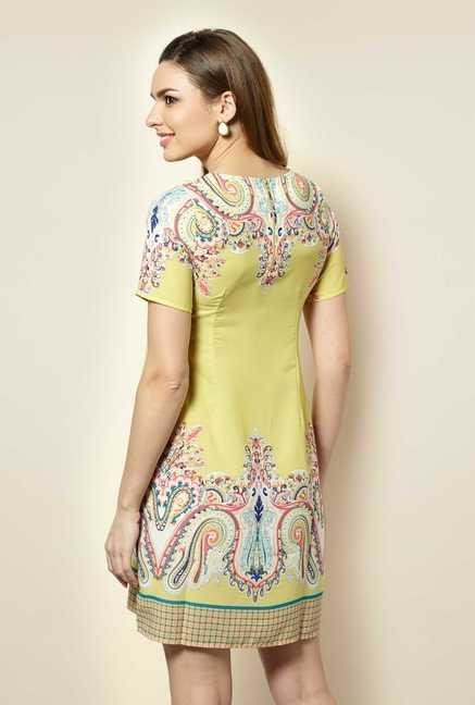 109 F Lime Paisley Casual Dress