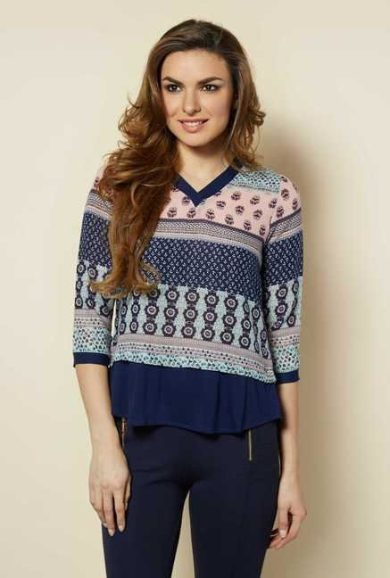 109 F Navy Printed Blouse