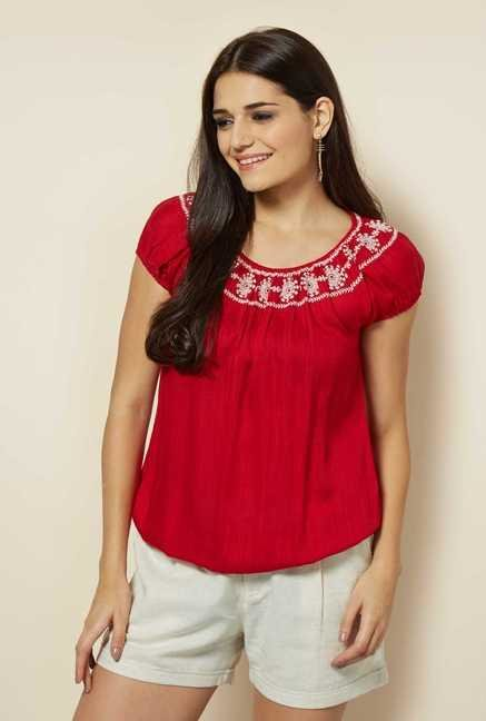 109 F Red Embroidered Tunic
