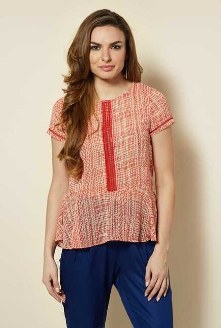 109 F Red Georgette Top