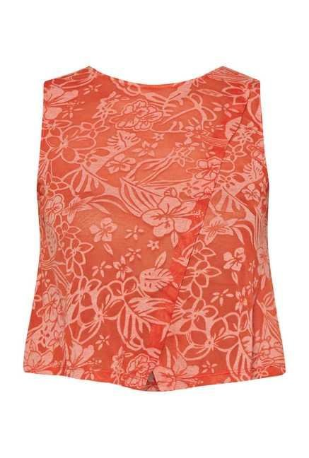 109 F Orange Floral Printed Top