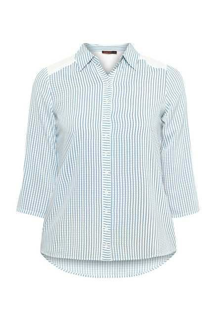 109 F Blue Striped Top