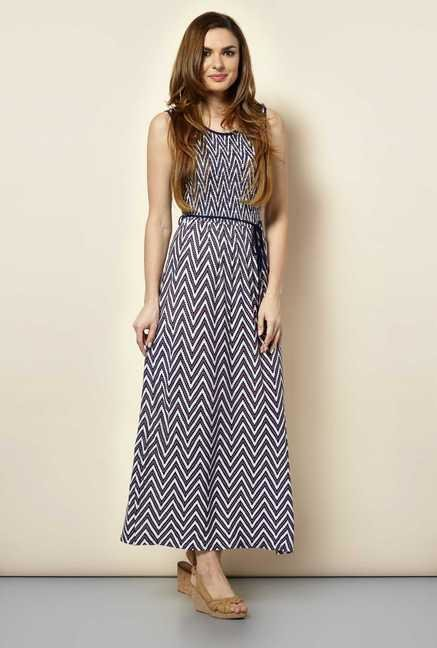 109 F Multicolor Chevron Casual Dress