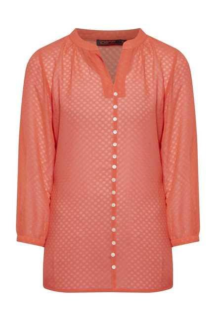109 F Coral Geometric Printed Blouse