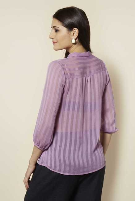 109 F Purple Striped Top