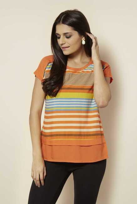 109 F Orange Striped Top