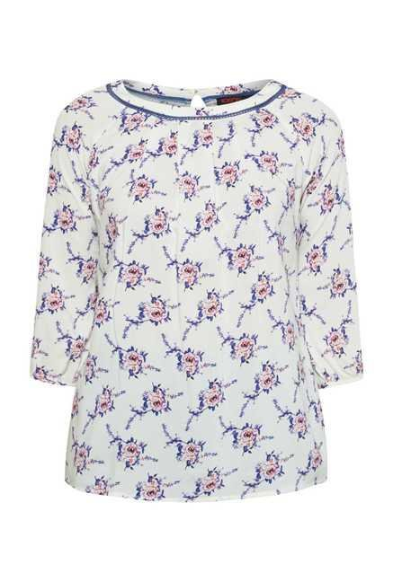109 F White Rose Printed Top