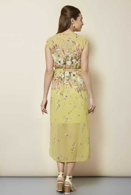 109 F Yellow Floral Casual Dress