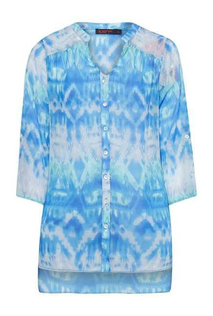 109 F Blue Sheer Crepe Top