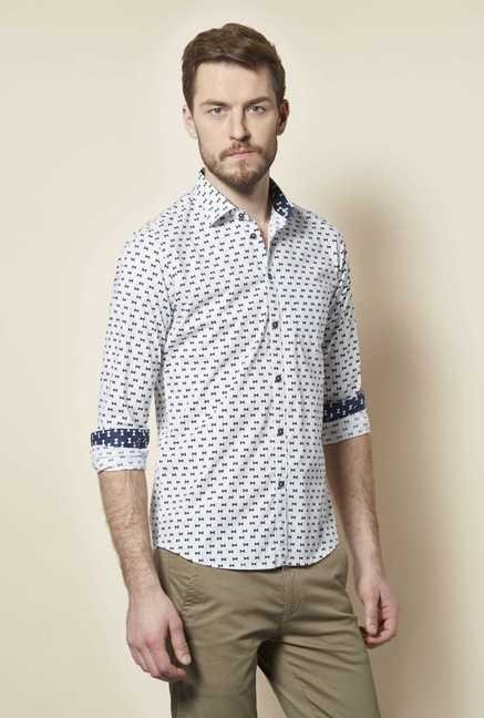 Easies White Cotton Formal Shirt
