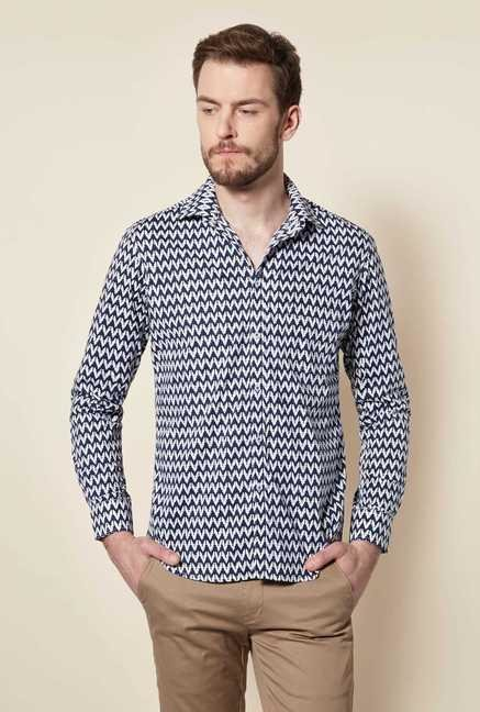 Easies Navy Egyptian Print Shirt