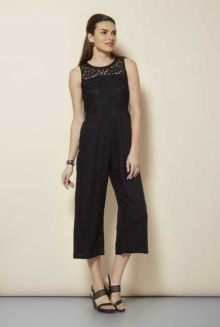 109 F Black Solid Jumpsuit