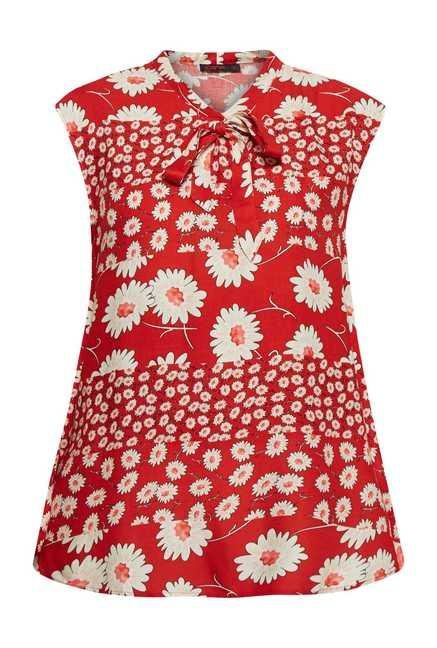 109 F Red Floral Print Top