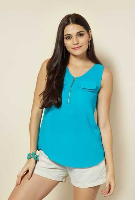 109 F Turquoise Sleeveless Top