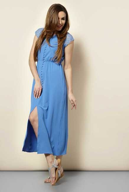 109 F Blue Solid Casual Dress