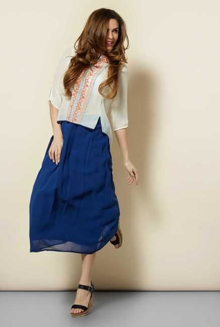 109 F Navy Solid Casual Skirt